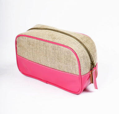 Pouches Toiletry bag makeup bright pink faux leather linen make up cosmetic travel gift - by VLiving