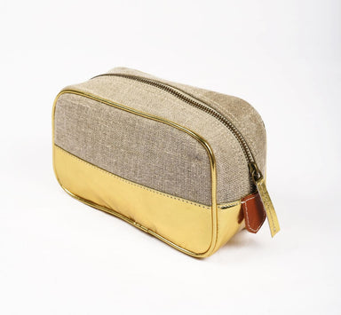 Pouches Toiletry bag makeup gold faux leather linen make up cosmetic travel gift - by VLiving
