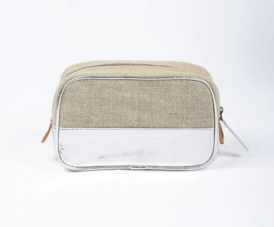 Pouches Toiletry bag makeup silver faux leather linen make up cosmetic travel gift - by VLiving