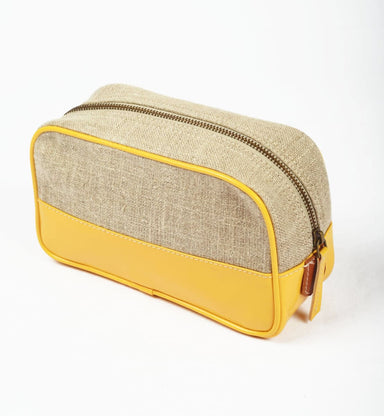 Pouches Toiletry bag makeup yellow linen faux leather make up cosmetic travel gift - by VLiving