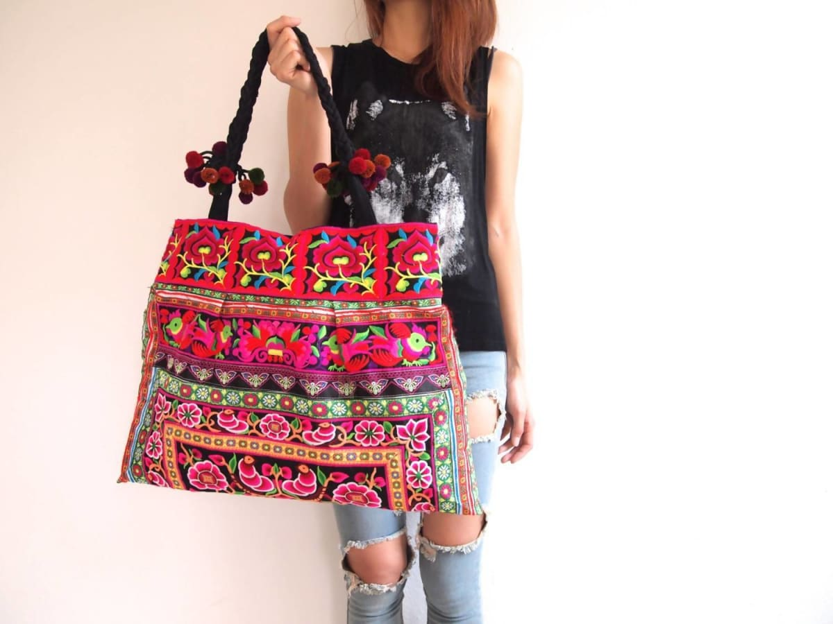 Tote Bags Hmong Bag Ethnic Old Vintage Style Hobo Boho Thai Shoulder Shoppers