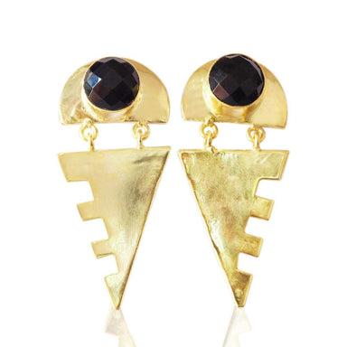 Trendy Stylish Semiprecious Black Onyx Gemstone Gold Plated Dangle Earrings