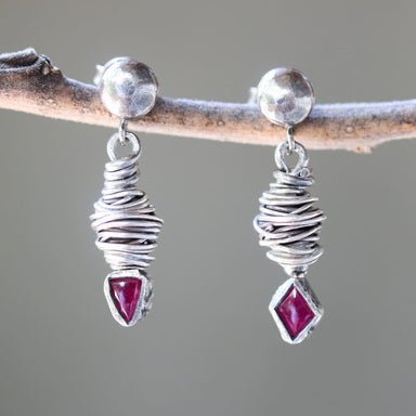 Triangle and diamond shape pink sapphire earrings in silver bezel setting with bird's nest oxidized sterling stud style - by Metal Studio