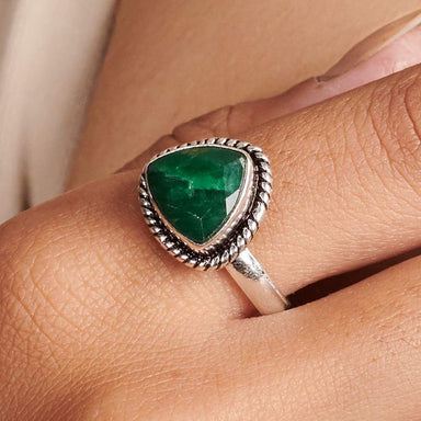 Rings Triangle Green Emerald Quartz Gemstone 925 Sterling Silver Ring Fashion Handmade Jewelry Gift - by NativeFineJewelry
