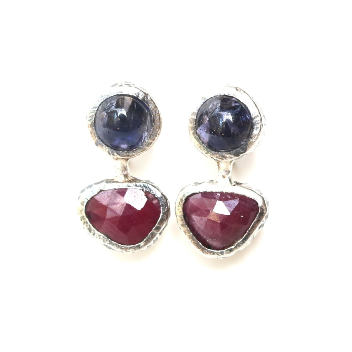 Triangle red ruby and round iolite stud earrings in silver bezel setting with sterling post backing - by Metal Studio Jewelry
