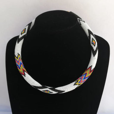 Necklaces Tribal beaded necklace White Beaded Rope Necklace African Zulu Maasai jewelry - by Naruki Crafts
