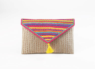 Pouches Tribal pouch envelope clutch linen colour bag foldover bohemian multicolour embroidered 6X9 inches - by VLiving