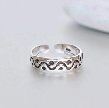 Rings Tribal Silver Toe Ring Band Minimalist Gift Idea Simple Boho Style Ethnic Jewelry (TS94)
