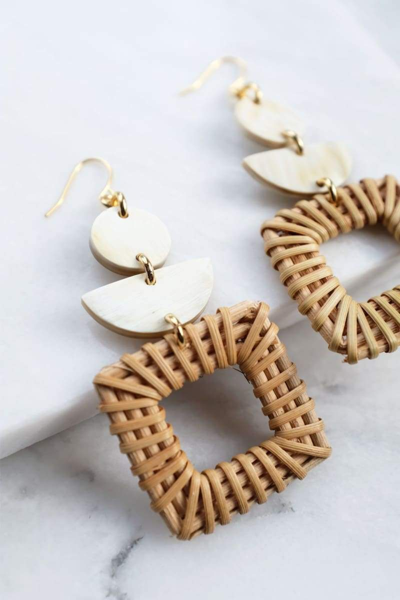 Tu 16K Gold-Plated Brass Buffalo Horn & Rattan/Wicker Square Geo Statement Earrings - Handcrafted & Unique Buffalo Horn Jewelry