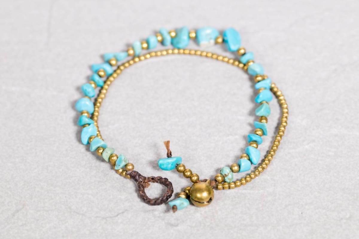 Bracelets Turquoise Bracelet- Blue and gold beads bracelet- Beaded B-2