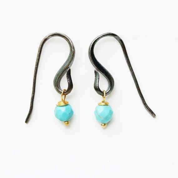 Turquoise faceted bead earrings with oxidized sterling silver hooks - by Metal Studio Jewelry