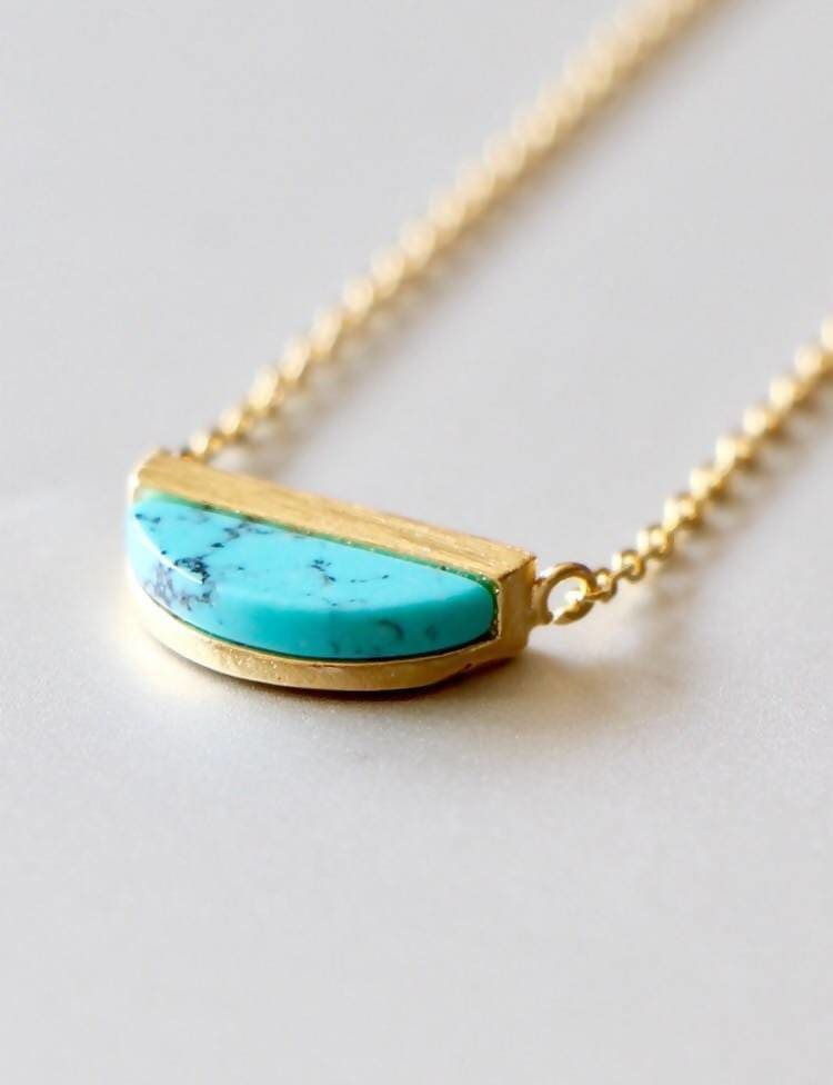 necklaces Turquoise And Gold Necklace Half Moon Charm Delicate Womens Gift Dipped Necklace,Wedding Jewelry Minimalist MN - by Silver Soul