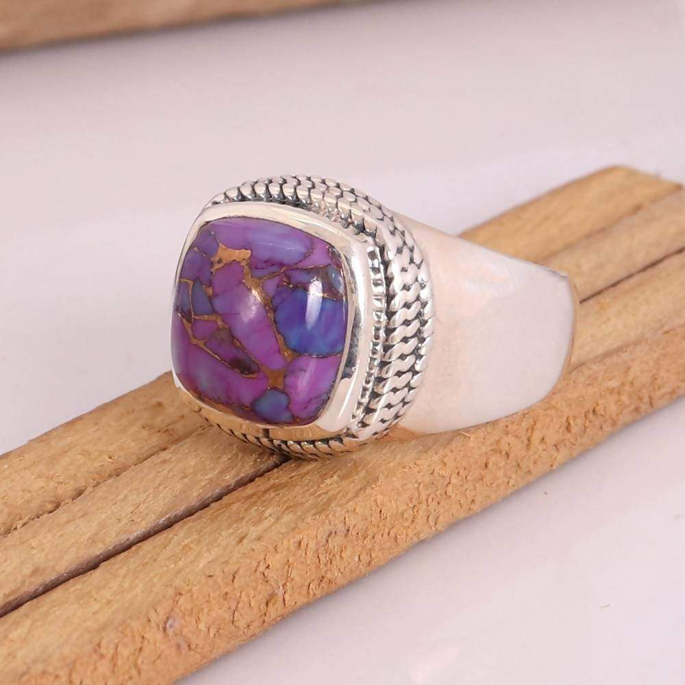 Rings Turquoise Ring Natural Purple Copper Cabochon Gemstone Handmade 925 Sterling Silver Men