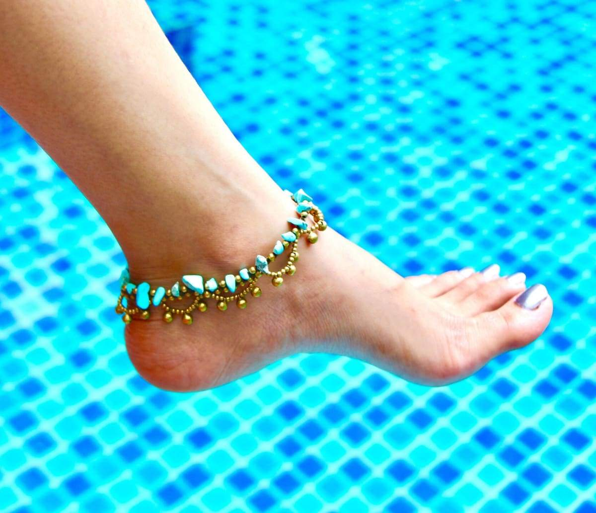Anklets Turquoise Rocks Anklet Beads Bohemian Woven Summer Wear Beach Gypsy Anklet,Feminine BA54