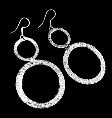 Two Circle Silver Overlay Earrings - by Artesanas Campesinas