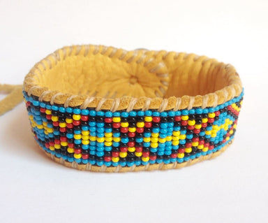 Bracelets Two Directions Native American Inspired Beaded Bracelet on Deer Hide - by Pachamama Art