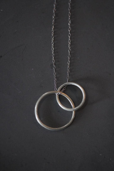 Necklaces Two interlocking circles silver necklace