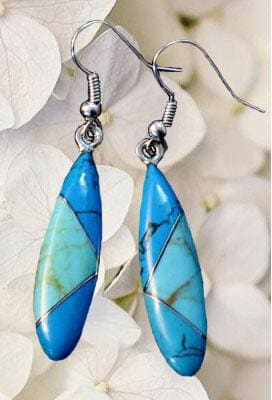 Two Turquoise Almond Mosaic Earrings - by Artesanas Campesinas