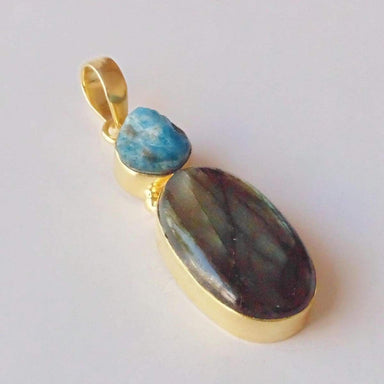 Unique 18K Gold Plated Blue Fire Labradorite And Apatite Gemstone Large Pendant