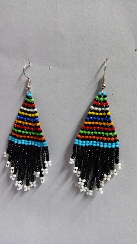 Earrings Unique Colorful Maasai Beaded Dangle - by Naruki Crafts