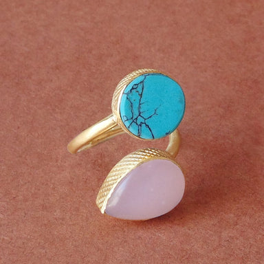 Unique Design Round Turquoise And Rose Quartz Gemstone Birthday Stacking Ring - by Bhagat Jewels