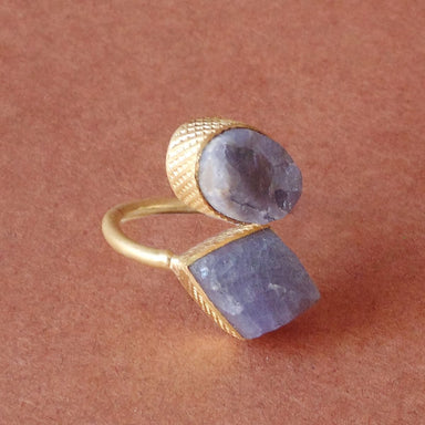 Unique Designer Handmade Raw Tanzanite Gemstone Gold Plated Delicate Ring - by Bhagat Jewels