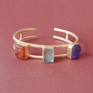 Unique Designer Natural Amethyst Fluorite And Carnelian Gemstone Cuff Bracelet - by Bhagat Jewels