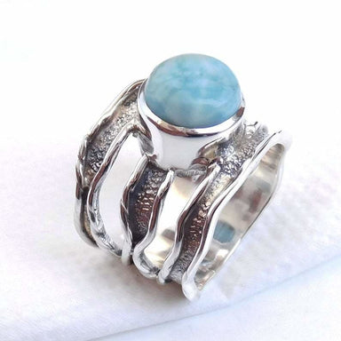 Unique Handmade Ring Men's Larimar 925 Sterling silver Ring-D045