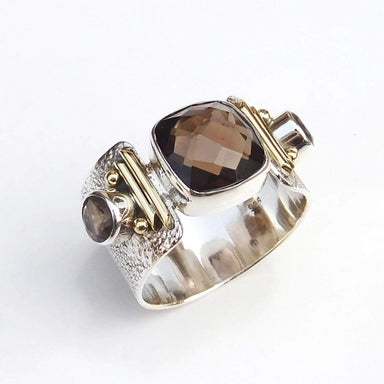 Rings Unique Handmade Ring Smoky Quartz 925 Sterling Silver Ring-D011