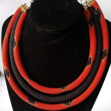 Necklaces Unique Red Layered Necklace in Maasai Beads - by Naruki Crafts
