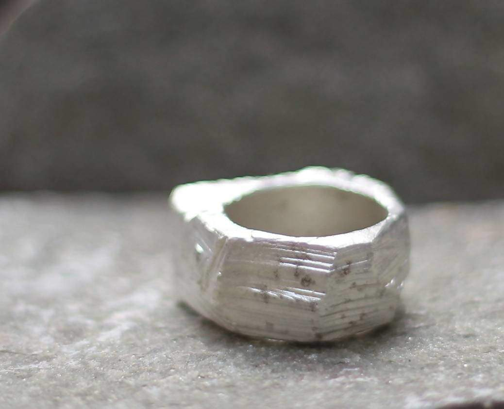 Rings unisex raw big ring alchemy band stunning rough silver nature organic inspiration art jewelry very special gift