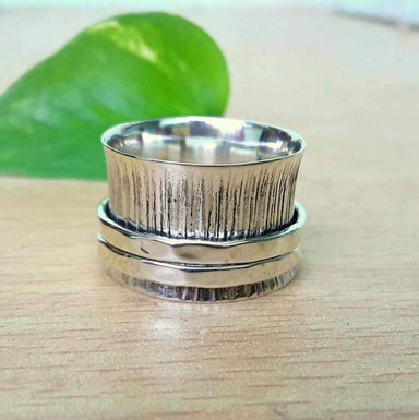 Rings Unisex ring 925 Sterling silver Textured Spinner Meditation ring,Anxiety 3 tone Fidget Hammered Silver jewelry