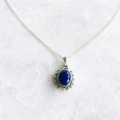 Necklaces Victorian Blue Stone Silver Pendant Necklace