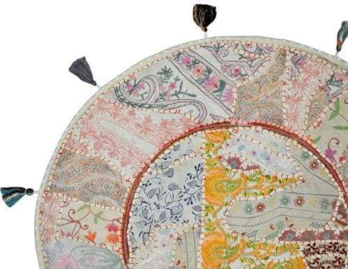 Pillows & Cushion Vintage Handmade Floor Cover Seat Round Gaddi Boho Style Banjara Home decorative Patchwork Gypsy - by Craftauras