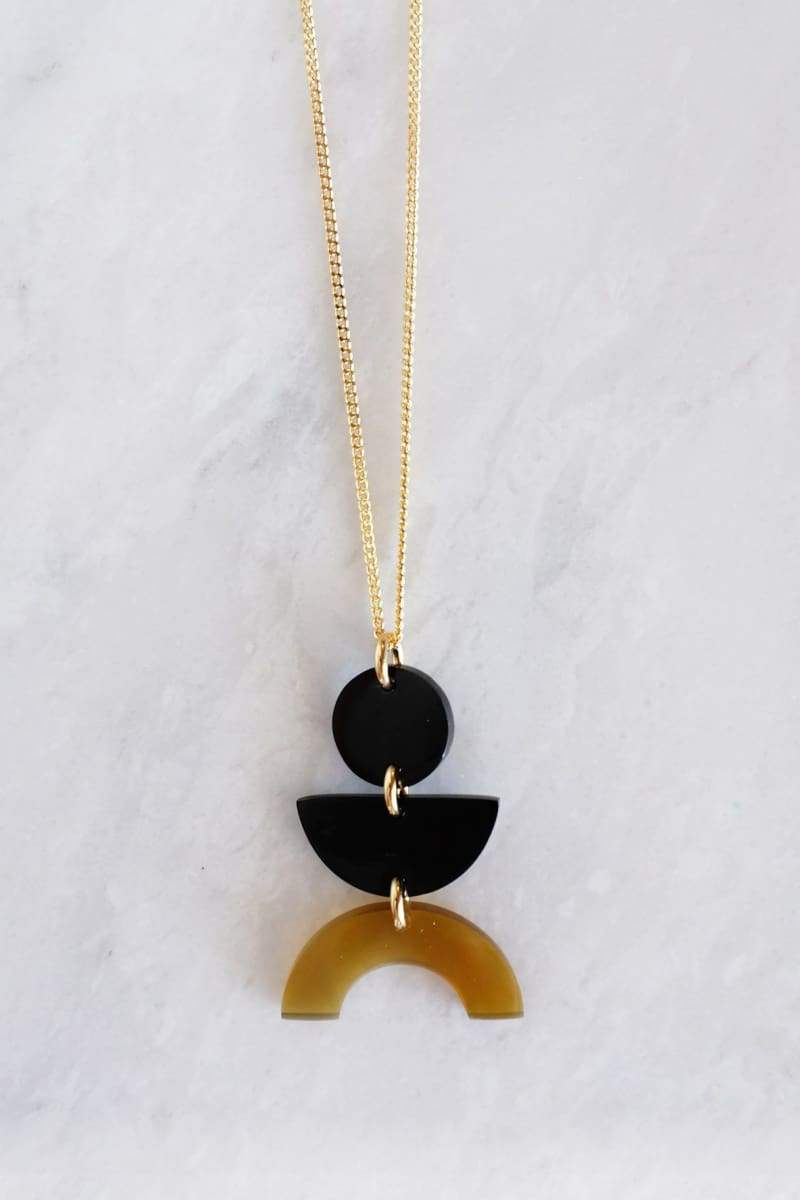 Vui Mung Geometrical Buffalo Horn Pendant Necklace - Handcrafted & Unique Buffalo Horn Jewelry