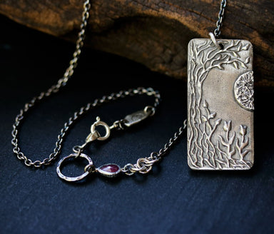 The water lily pond silver pendant necklace LEFT - by Metal Studio Jewelry