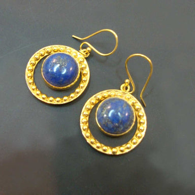 Wedding Gift 925 Sterling Silver Gold Plated Lapis Lazuli Hand Crafted Dangle Earrings For - by Vidita Jewels