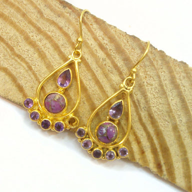 Wedding Gift Copper Turquoise Or Amethyst 925 Sterling Silver Dangle Gold Plated Earrings For - by Vidita Jewels