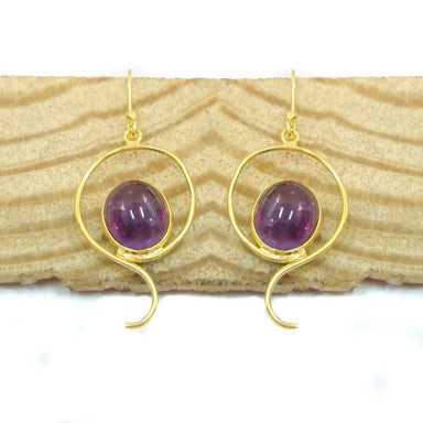 Wedding Gift,Royal Amethyst Gold Plated Handmade 925 Sterling Silver Dangle Earrings For Gift - by Vidita Jewels
