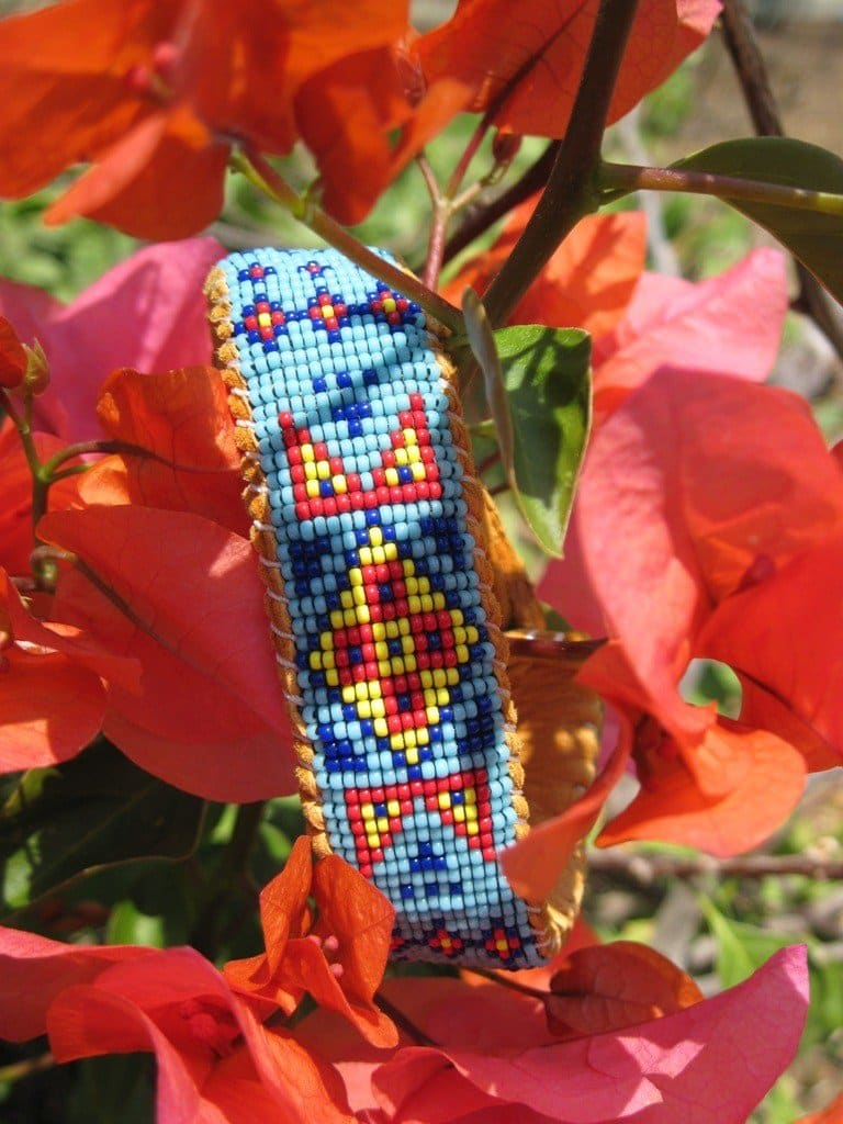 Bracelets Wetland Style Native American Inspired Beaded Turquoise Cuff Bracelet Deer Hide - by Pachamama Art