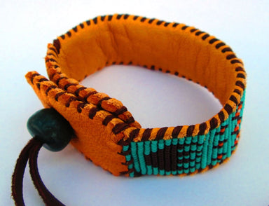 Bracelets Wetlands Native American Inspired Beaded Seafoam Orange and Brown Cuff Bracelet on Deer Hide - by Pachamama Art