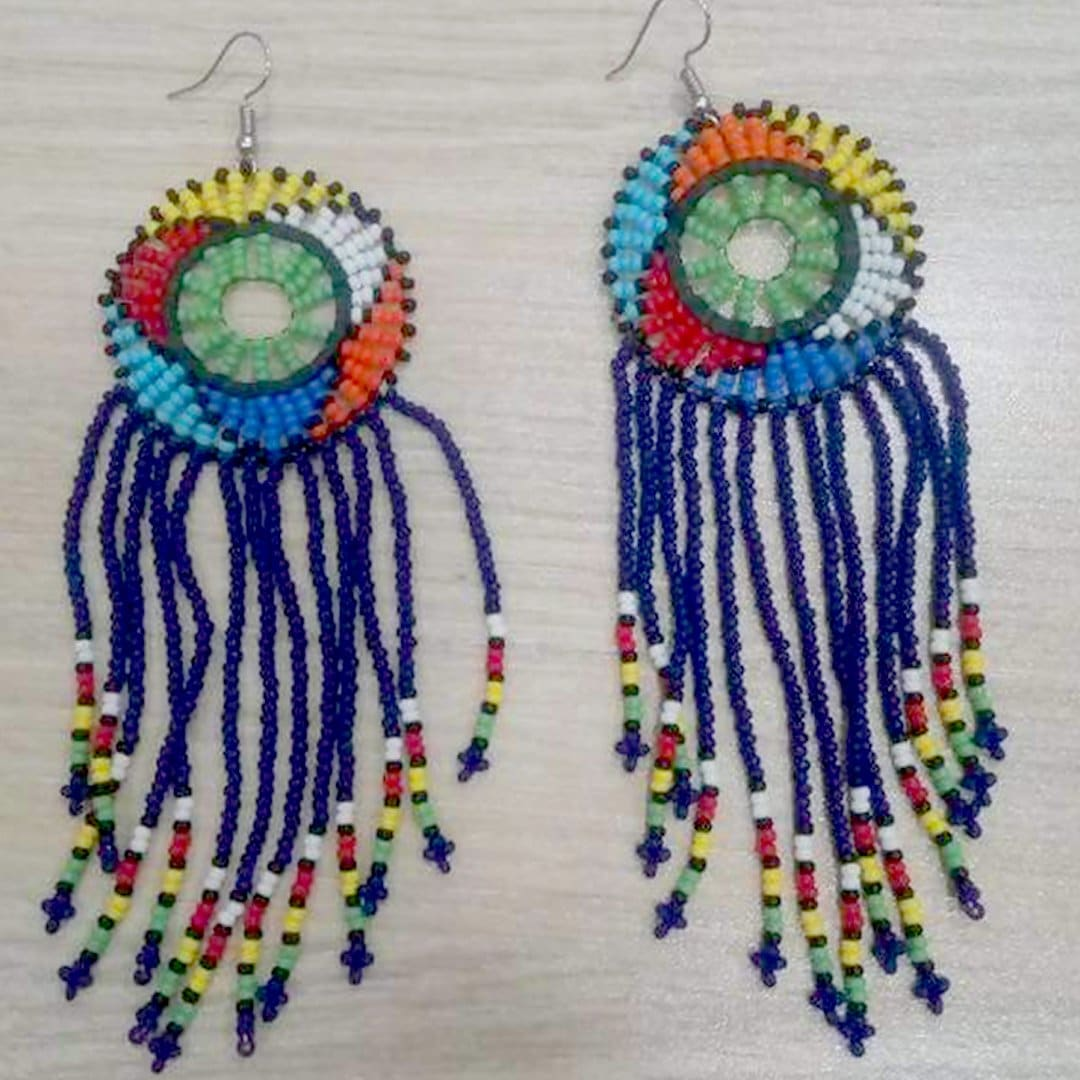 Earrings White or Blue African beaded earrings Zulu Drop Multicolored Maasai jewelry - by Naruki Crafts