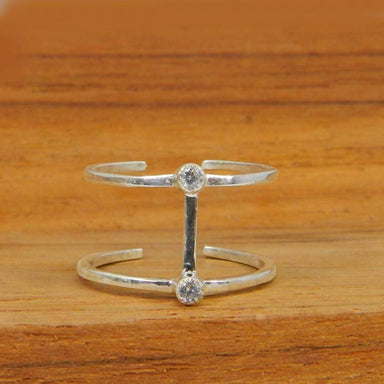 Rings White CZ 925 Sterling Silver Minimalist Double Bar Adjustable Ring Jewelry