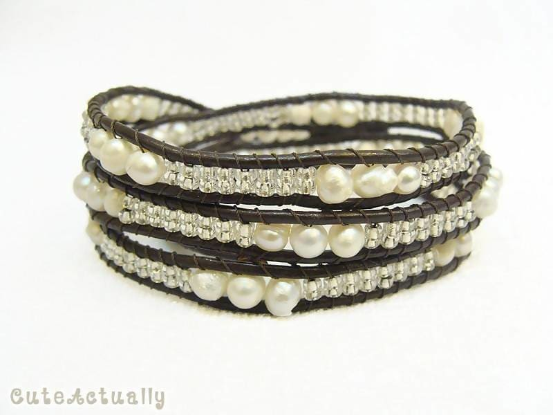 Bracelets White freshwater pearl wrap bracelet with glass beads on brown leather cord - by CuteActually