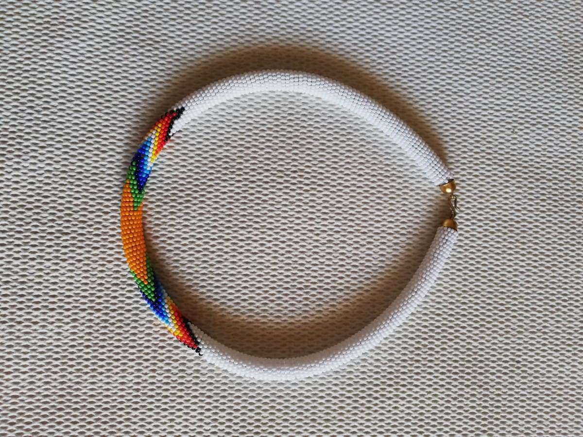 Necklaces White Maasai Beaded Necklace - by Naruki Crafts
