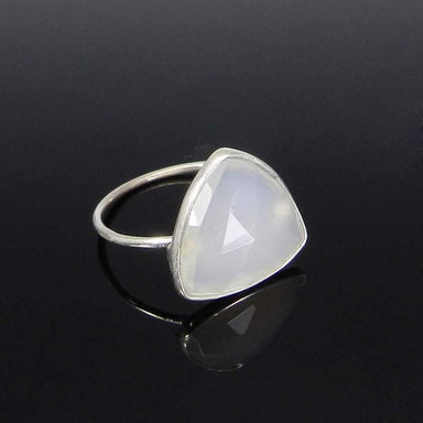 Rings White Onyx Trillion Gemstone Silver Bezel Ring - 925 Sterling - Stone - Handmade Jewelry