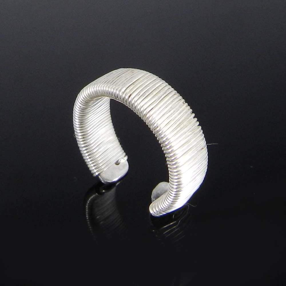 Rings Wire Wrapped 925 Sterling Silver Adjustable Cuff Ring Jewelry