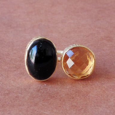 Wonderful Design Handmade Black Onyx And Citrine Gemstone Elegant Ring For Christmas Gift - by Bhagat Jewels