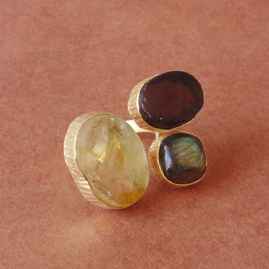 Wonderful Gift Genuine Citrine Labradorite And Smoky Quartz Gemstone Statement Ring - by Bhagat Jewels