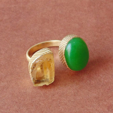Wonderful Gifts 18K Matte Gold Plated Raw Citrine And Green Onyx Dual Stone Adjustable Ring - by Bhagat Jewels